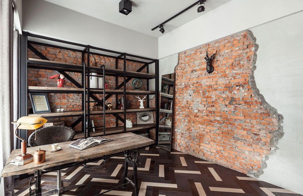 кирпичная стена в стиле лофт скандинавский стиль романтичный